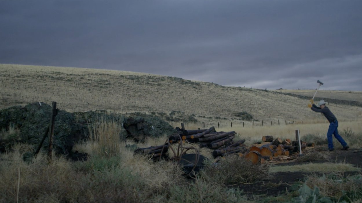 Rancher chopping wood