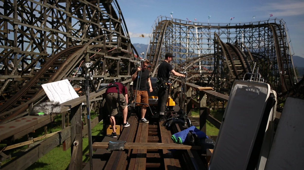 Our team setting up on the roller coaster for the first spot of the day.