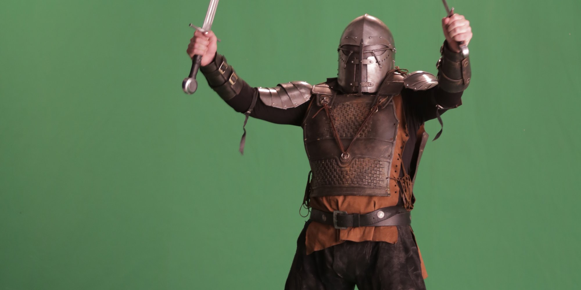 Our Executive Producer, Tim, got really into the whole 'warrior-green-screen' thing. We love him.