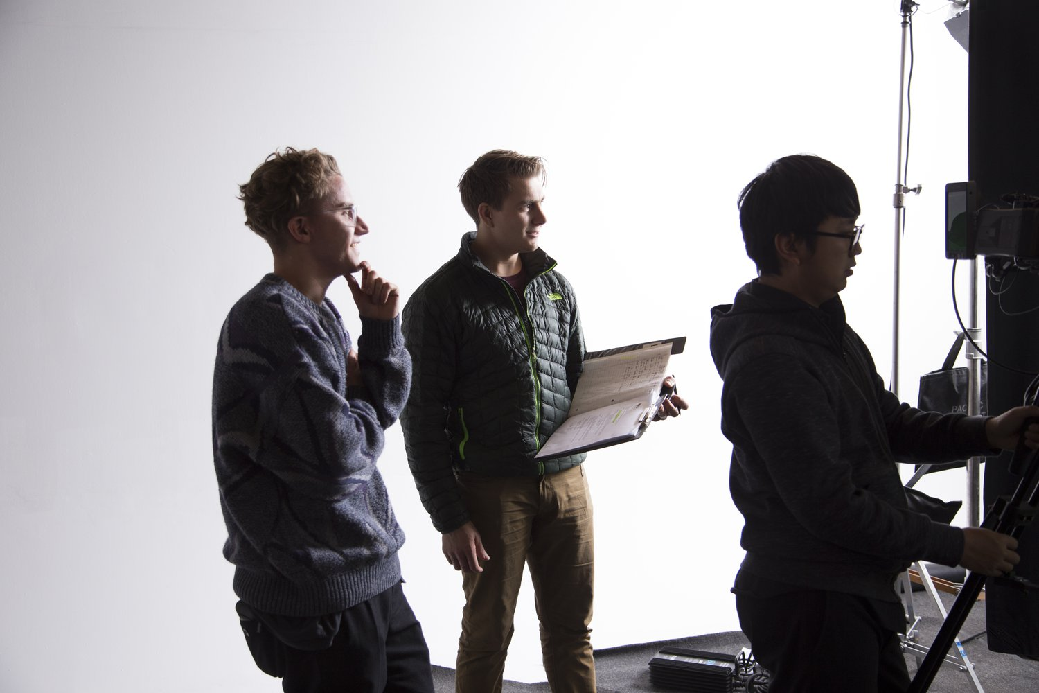 Jeremy Cox, Kristoff Duxbury, Cedric Yu on a commercial set in Vancouver, March 2013