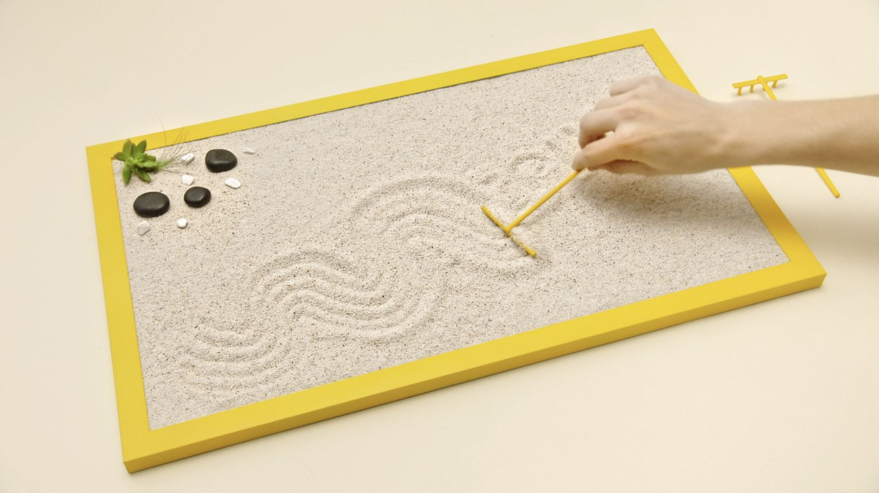 Raking a zen garden in peace
