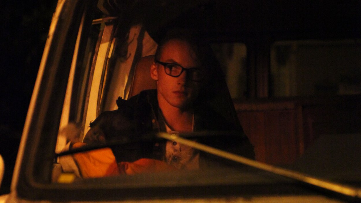 Kai sleeping in the van for one of his more 'rock and roll' scenes